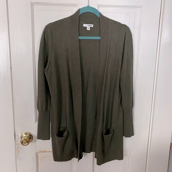 Olive Green Open Cardigan with Pockets